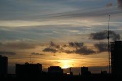 Por do sol de Londres do leste Imagem de Stock