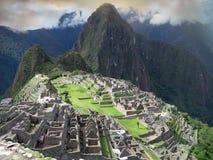 Por do sol de Machu Picchu. Peru Fotografia de Stock