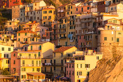 Por do sol de Manarola Fotografia de Stock Royalty Free