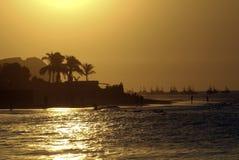 Por do sol de Mancora Foto de Stock