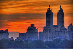 Por do sol de Manhattan Foto de Stock