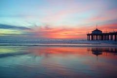 Por do sol de Manhattan Beach Imagens de Stock