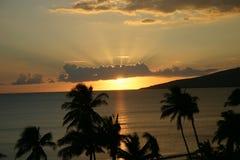 Por do sol de Maui Foto de Stock