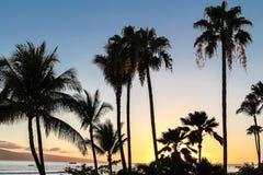 Por do sol de Maui em Havaí Foto de Stock