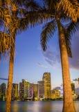 Por do sol de Miami Imagens de Stock