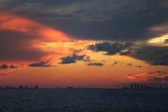 Por do sol de Miami Foto de Stock Royalty Free
