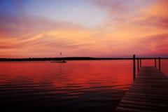 Por do sol de Michigan Fotografia de Stock