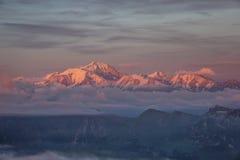 Por do sol de Mont Blanc Imagens de Stock