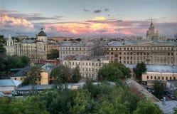 Por do sol de Moscou Imagens de Stock Royalty Free