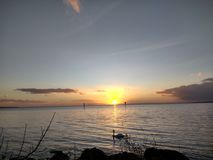 Por do sol de Neagh do Lough Foto de Stock