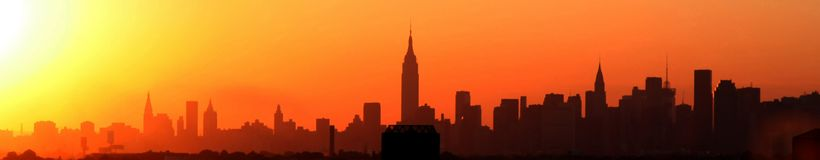Por do sol de New York Imagem de Stock