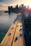 Por do sol de New York City Imagens de Stock