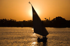 Por do sol de Nile Foto de Stock