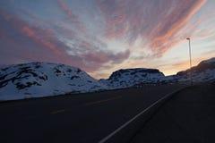Por do sol de Noruega Imagens de Stock
