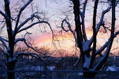 Por do sol de novembro na cidade Imagem de Stock