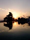 Por do sol de Okinawa Kanna Foto de Stock