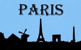 Por do sol de Paris França Fotografia de Stock