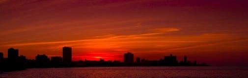 Por do sol de Ponoramic de Havana fotografia de stock