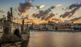 Por do sol de Praga Fotografia de Stock