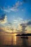 Por do sol de Pulau Aman Penang Malaysia Foto de Stock