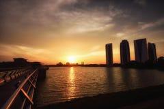 Por do sol de Putrajaya Fotos de Stock