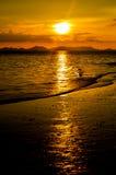 Por do sol de Railay imagens de stock