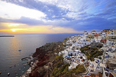 Por do sol de Santorini Imagem de Stock