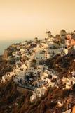Por do sol de Santorini fotografia de stock
