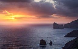 Por do sol de Sardinia Imagem de Stock Royalty Free