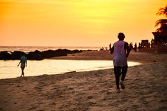 Por do sol de Senegal Fotografia de Stock Royalty Free