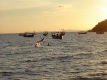 Por do sol de Sihanoukville Imagens de Stock Royalty Free