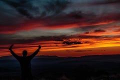 Por do sol de Silhoette na vista de Sotol Imagem de Stock
