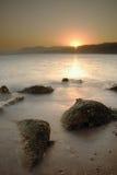 Por do sol de Sinai sobre o Mar Vermelho Fotografia de Stock