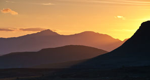 Por do sol de Snowdon Imagem de Stock Royalty Free