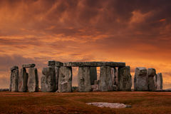 Por do sol de Stonehenge Foto de Stock Royalty Free