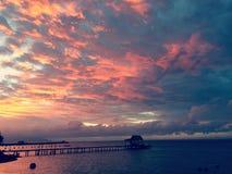Por do sol de Tahiti Fotografia de Stock