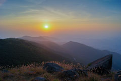 Por do sol de Tai Mo Shan Imagem de Stock Royalty Free