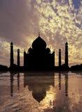 Por do sol de Taj Mahal Fotos de Stock