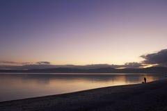 Por do sol de Taupo Fotografia de Stock