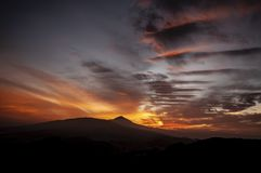 Por do sol de Teide tenerife imagem de stock royalty free