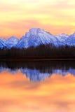 Por do sol de Tetons Foto de Stock Royalty Free