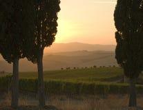 Por do sol de Tuscan imagem de stock royalty free