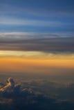 Por do sol de um plano Foto de Stock