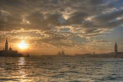 Por do sol de Veneza, hdr imagem de stock