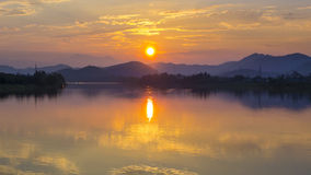 Por do sol de Vietname do rio do perfume Foto de Stock