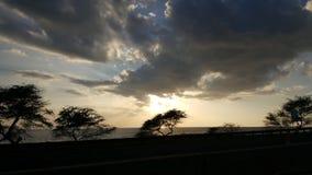 Por do sol de Waianae Foto de Stock