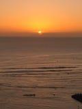 Por do sol de Waikiki Fotos de Stock Royalty Free