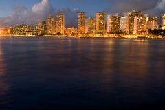 Por do sol de Waikiki Imagem de Stock