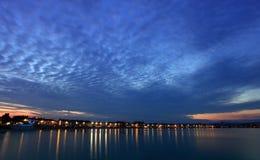 Por do sol de Weymouth em Dorset Inglaterra imagem de stock