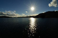 Por do sol de Windermere do lago Foto de Stock